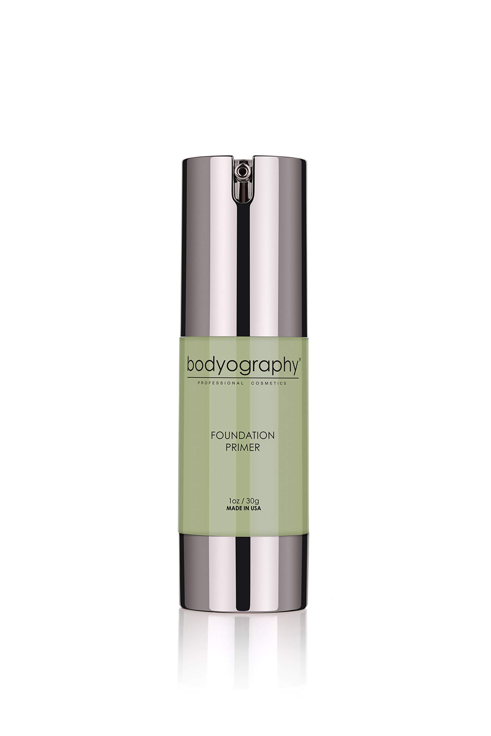 Bodyography Foundation Primer (Green): Clear-Drying Anti-Aging Salon Makeup Primer w/ Vitamin E, A, Jojoba, Grapeseed Oil | Minimize Rosacea, Redness | Gluten-Free, Cruelty-Free