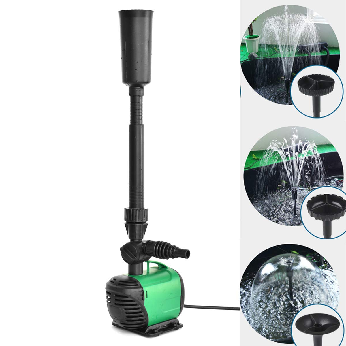 COODIA 370GPH (1400L/H, 110V/24W) Submersible Pump Pond Fountain Multiple Water Fountain Spray Nozzles Kit for Garden PondIndoor and Outdoor Landscape by COODIA