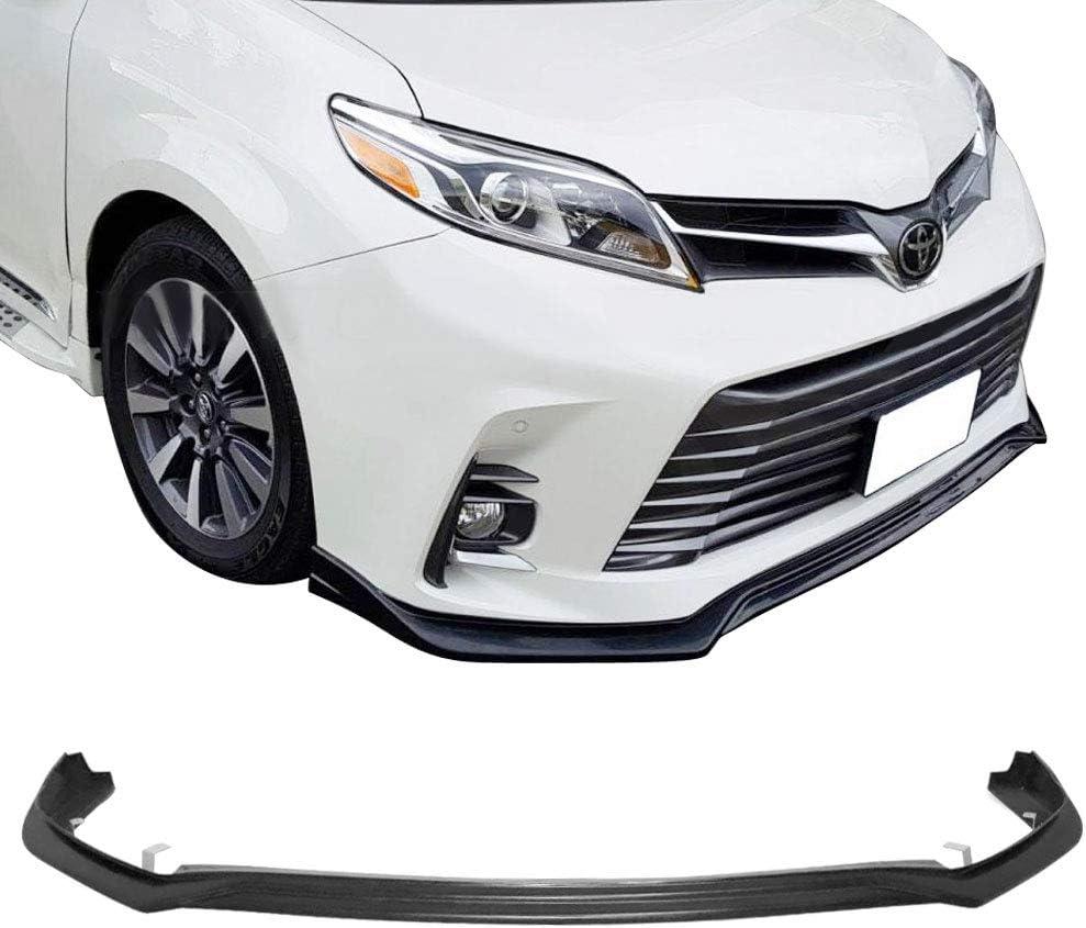 MP Style Unpainted Black Front Lip Spoiler Underbody Splitter Polyurethane 2019 IKON MOTORSPORTS Front Bumper Lip Compatible With 2018-2020 Toyota Sienna SE LE XLE