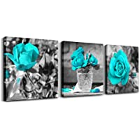 """wall art for bedroom Simple Life Black and white rose flowers Blue Canvas Wall Art Decor 12"""" x 12"""" 3 Pieces Framed Canvas Prints Watercolor Giclee with Black Border Ready to Hang for Home Decoration"""