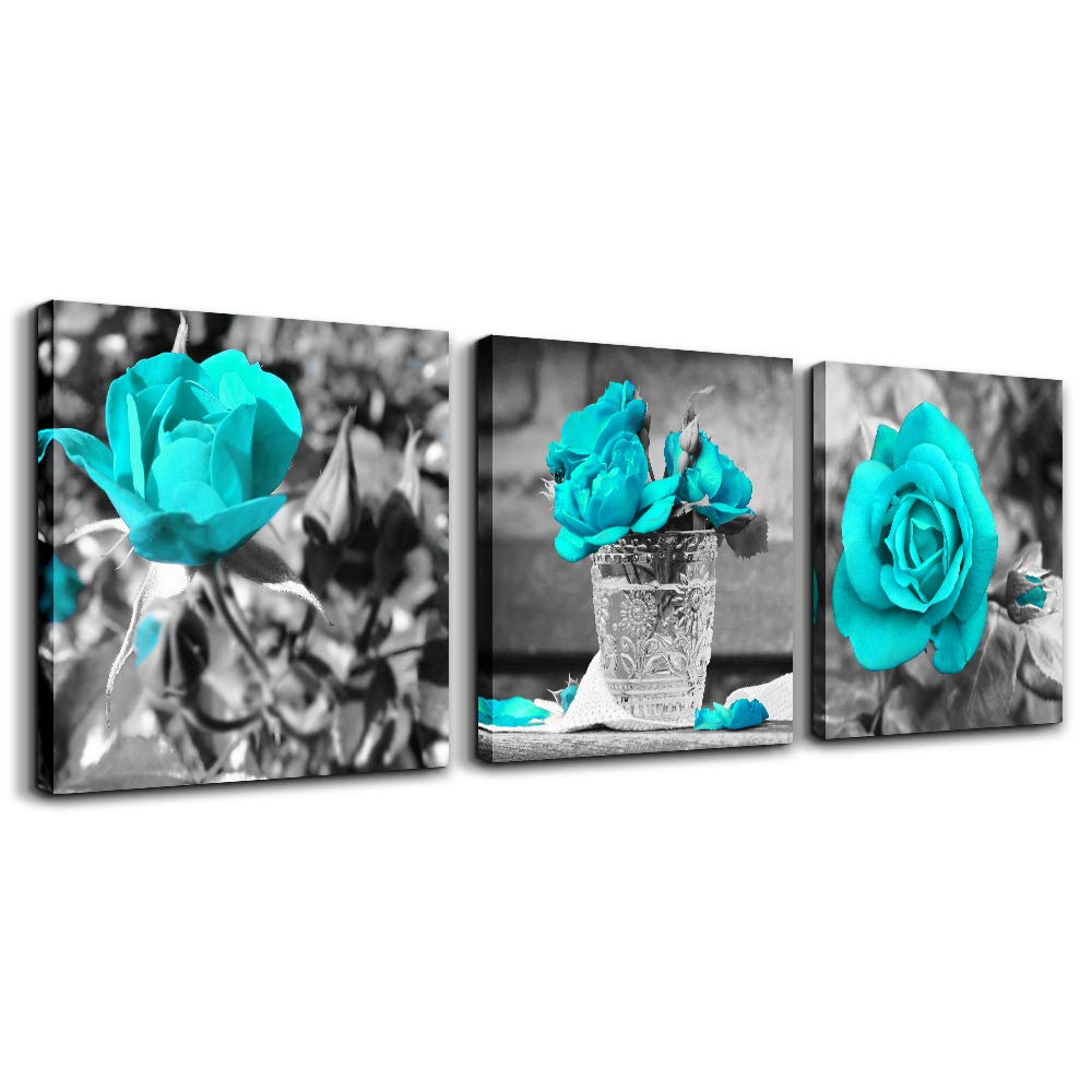 """wall art for bedroom Simple Life Black and white rose flowers Blue Canvas Wall Art Decor 16"""" x 16"""" 3 Pieces Framed Canvas Prints Watercolor Giclee with Black Border Ready to Hang for Home Decoration"""
