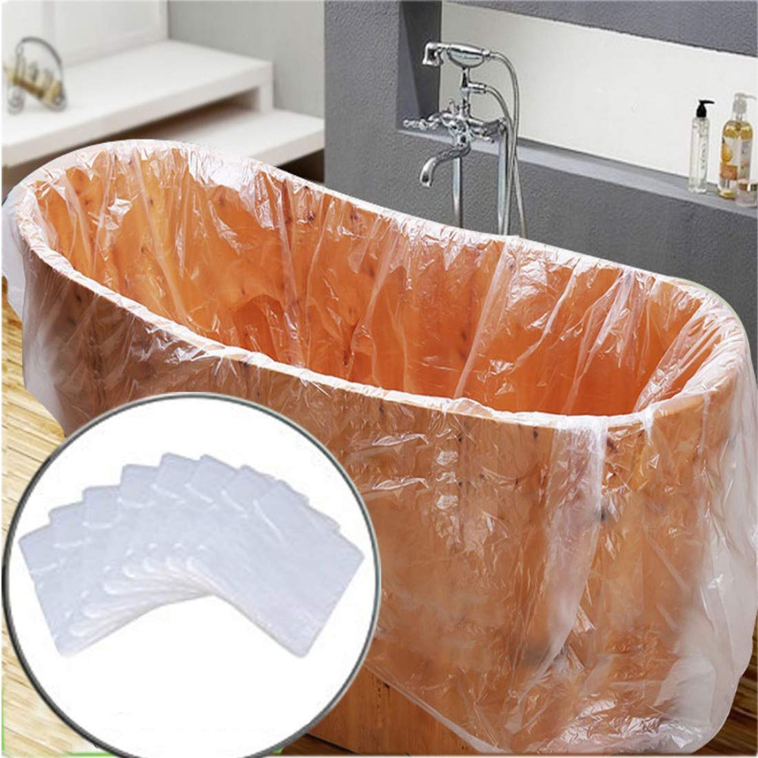 10 Pack Disposable Bathtub Cover Liner, Ultra Large Bathtub Liner Plastic Bag for Salon, Household and Hotel Bath Tubs (90x47 Inch)