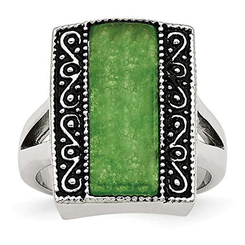 - Goldia Stainless Steel Synthetic Jade Antiqued Rectangular Ring
