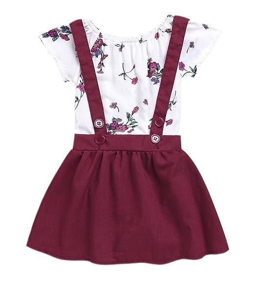 c87c248f8 Amazon.com  2Pcs Infant Toddler Baby Girls Summer Boho Floral ...