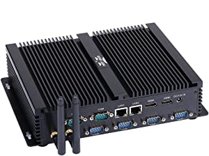 Fanless Industrial PC, Mini PC,with Windows 10 Pro/Linux Ubuntu,Intel Core I7 5500U,(Black),[Partaker I4],[Dual Band WiFi/2HDMI/2 Intel 82574L LAN/4USB3.0/3USB2.0/6COM],(8G RAM/128G SSD)