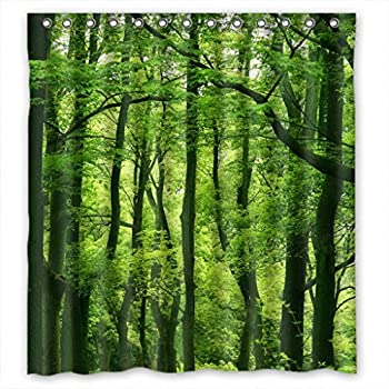 Beautiful Fresh Green Forest Fabric Shower Curtain 66(W)X72(H)