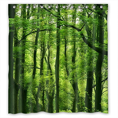 Beautiful Fresh Green Forest Fabric Shower Curtain 66(W)X72(H) (Autumn Shower Curtain 66)