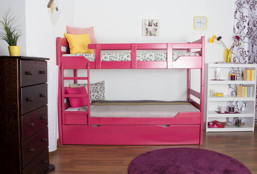 Stockbett mit Bettkasten Easy Sleep K3/h inkl. Liegeplatz und 2 Abdeckblenden, 90 x 200 cm Buche Vollholz massiv Rosa, teilbar
