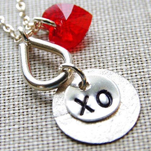 XO Necklace Red Heart Swarovski Crystal Sterling Silver Stamped Circle Pendant Chain (Silver Tribe Hill Circle)