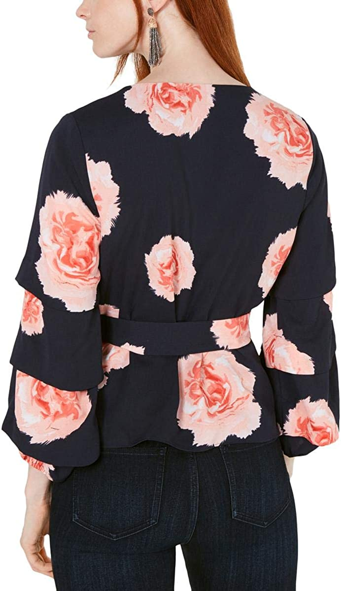 Bar III Womens Floral Puff Sleeve Wrap Top