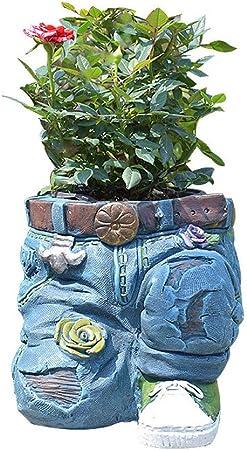 DorisAA-Garden Decoraciones al Aire Libre Patio Ornamento del Arte balcón decoración del jardín Tiesto Jeans Vintage Cielo Zona de terrazas Retro para el jardín (Color : Azul, tamaño : 15x12cm): Amazon.es: Hogar