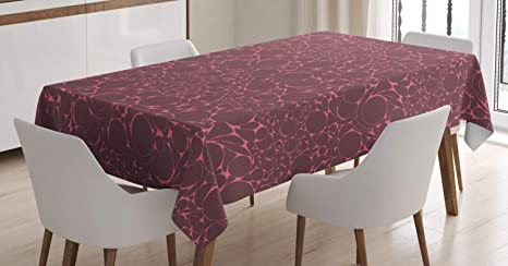 Amazon Com Ambesonne Mosaic Tablecloth Abstract Theme Geometric Shapes Circular Motifs In Monochrome Design Rectangular Table Cover For Dining Room Kitchen Decor 52 X 70 Dark Warm Taupe And Pink Home Kitchen