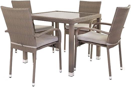 Conjunto de Mesa y sillas para terraza marrón de rattán plástico ...