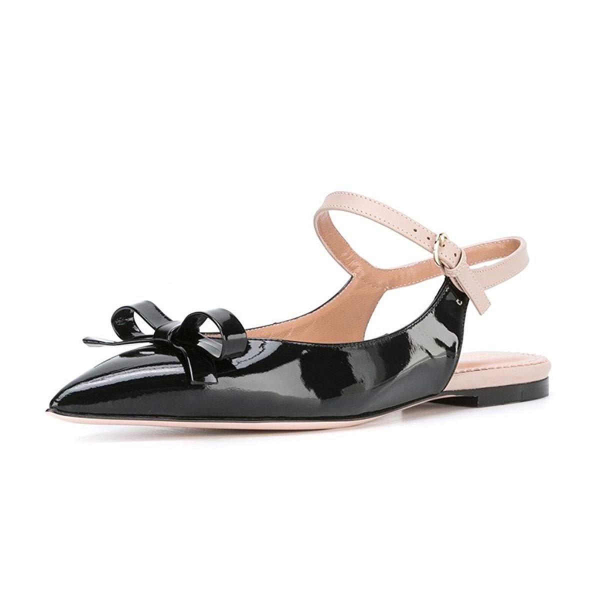 XYD Office Trendy Dress Slingback Flats Pointy Toe Bows Sandals Slip On Pumps Shoes for Women B072DWJK7B 5 B(M) US Black