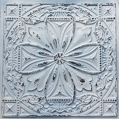 (TalissaDecor Faux Tin Ceiling Tile TD10 Old Black White Pack of 10 2'X2' Tiles (~ 40 sq.ft). Easy to Install PVC Panels. Gorgeous Antique Vintage Look Ceiling. Great for Glue up/Drop in Installation.)