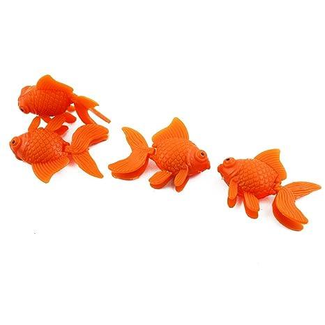 sourcing map Acuario de plástico Flotante simulado Peces Tropicales Ornamentos Naranja 4pcs