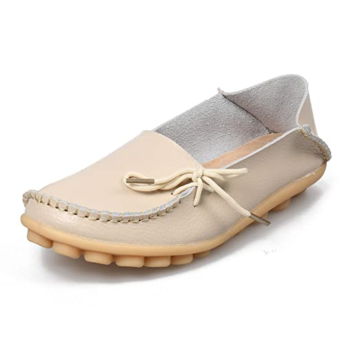 bae3a6333c9 SHIBEVER Women s Leather Loafers Moccasins Wild Driving Casual Flats  Oxfords Breathable Shoes Beige 4.5