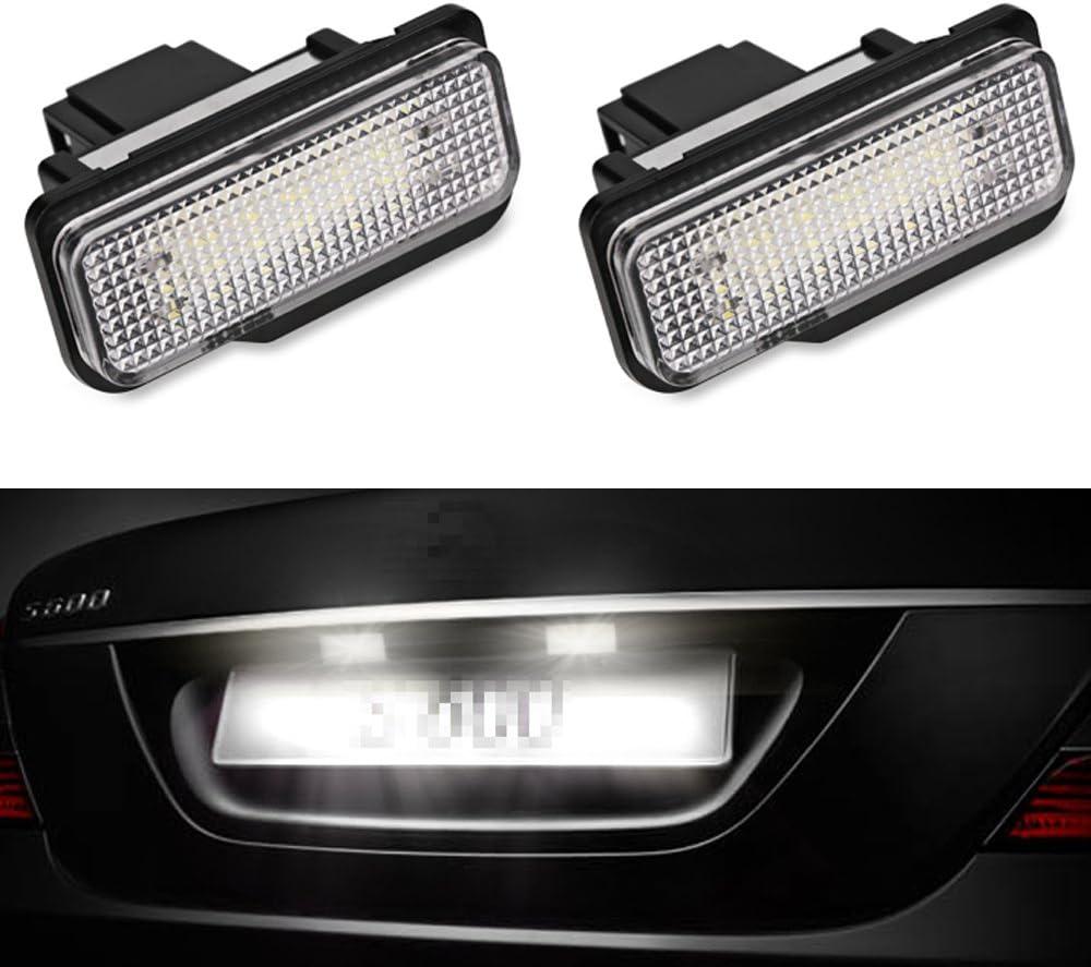 PolarLander 2PCS Car LED License Plate Lights 12V No Error White Number Plate lamp For B-E-N-Z W211 W203 5D W219 R171