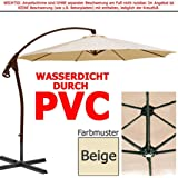 habeig® Luxus Ampelschirm 3m Beige WASSERDICHT durch PVC Schirm 300cm Sonnenschirm
