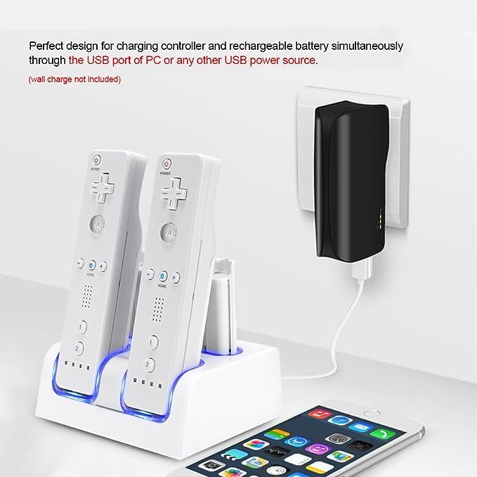 Prous - Cargador 4 en 1 para mando a distancia Wii, LU06 Wii ...