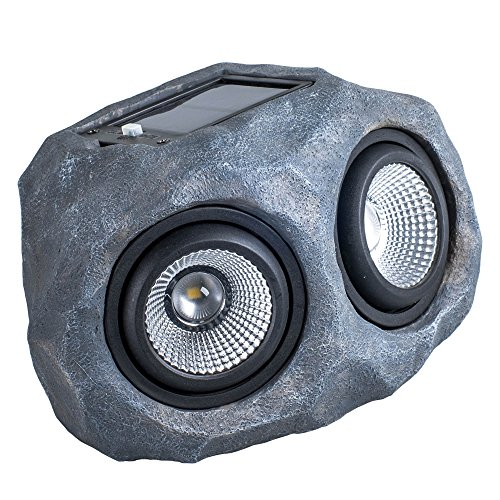 Garden Solar Rock Light, Outdoor spotlight Waterproof Landscape decor Patio Deck (Double-Head) ()