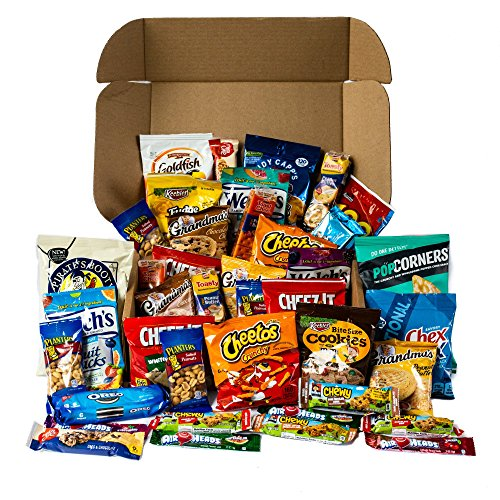 Snack Box Care Package Variety Pack - Cookies Chips & Candies Bulk Sampler Assortment Basket - Food Gift Box Bundle for College Student, Final Exam, Office Break room, Kids School (Halloween Gift Baskets For Children)