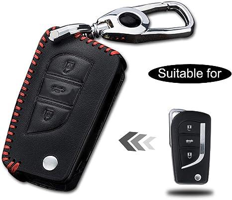 Image ofCarcasa Cuero para Llave Toyota 3 Botones Llave Control Remoto Plegable línea roja con Llaveros 1 PC Modelo B