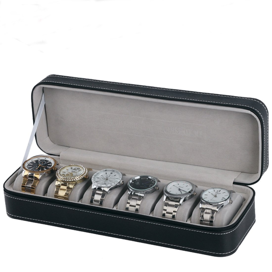 Homeater 6 Slot Watch Box Portable Travel Zipper Case Collector Storage Jewelry Storage Box(Black)