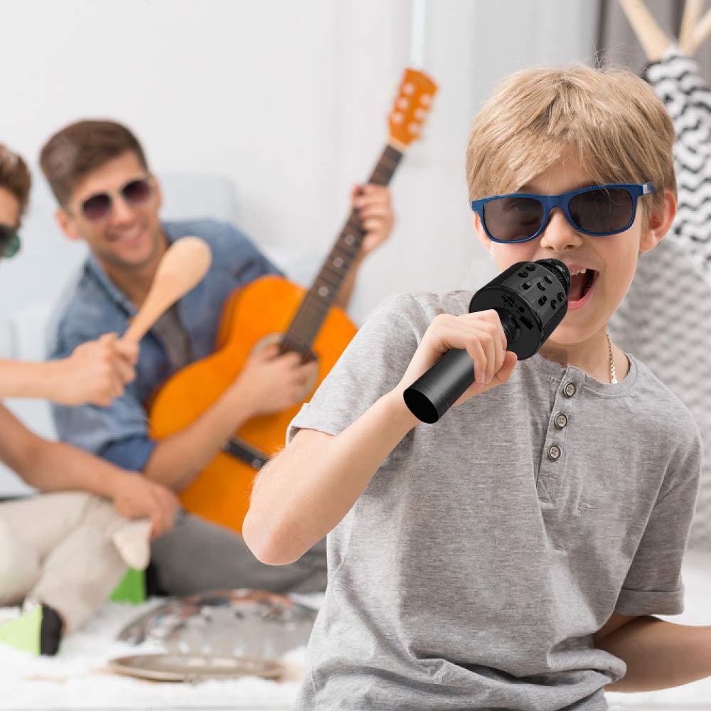 Henkelion Wireless Bluetooth Karaoke Microphone for Kids, Kids Karaoke Machine Portable Handheld Mic Speaker Toy Home Party Birthday Graduation for iPhone Android iPad All Smartphone - Black by Henkelion (Image #6)