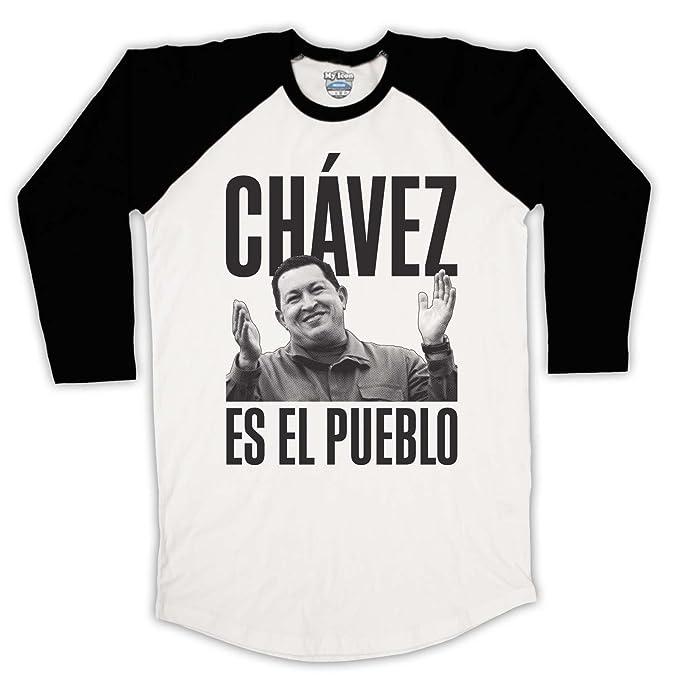 Hugo Chavez es el Pueblo 3/4 Hulse Retro béisbol - Camiseta: Amazon.es: Ropa y accesorios