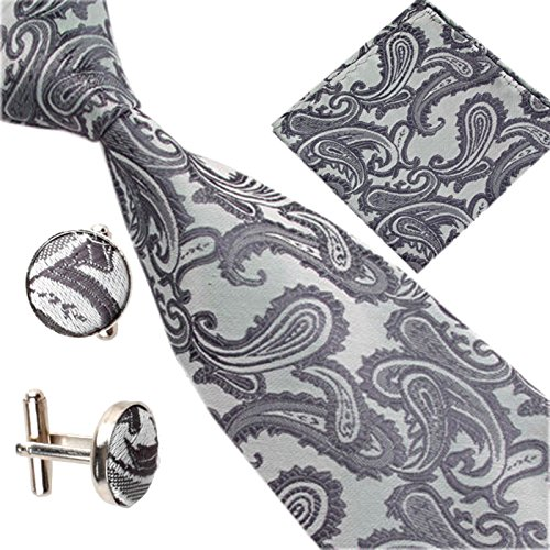 Deep Grey Set Various Square Patterned Occasions Tie Men Paisley Pocket of Cufflinks OPq6WOHp