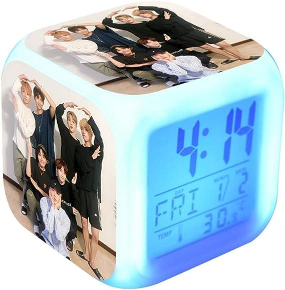 Skisneostype Kpop 7Couleur LED Digital Rveil Mignon Dessin anim Bangtan garons Touch Veilleuse Horloge de Bureau