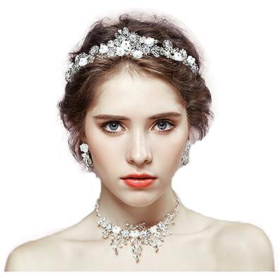 eb4ef49561032 MIDO貿易 ウェディングアクセサリー3点セット ヘッドドレス ティアラ ネックレスセット 髪飾り ウェディング 結婚