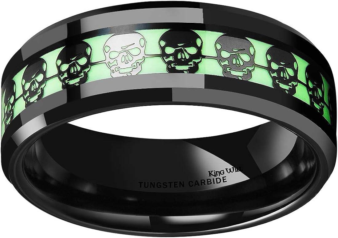 King Will Aurora 8mm Luminou Glow Tungsten Carbide Wedding Ring Celtic Dragon//Skull//Lord of Ring