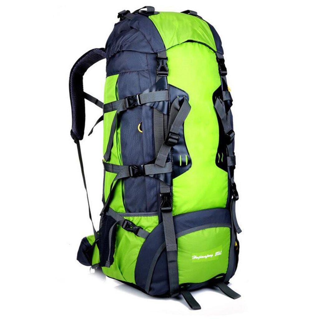 JBHURF Große Kapazität 80L Outdoor-Bergsteigen Tasche professionelles Tragesystem Gelb (Farbe : Grün)