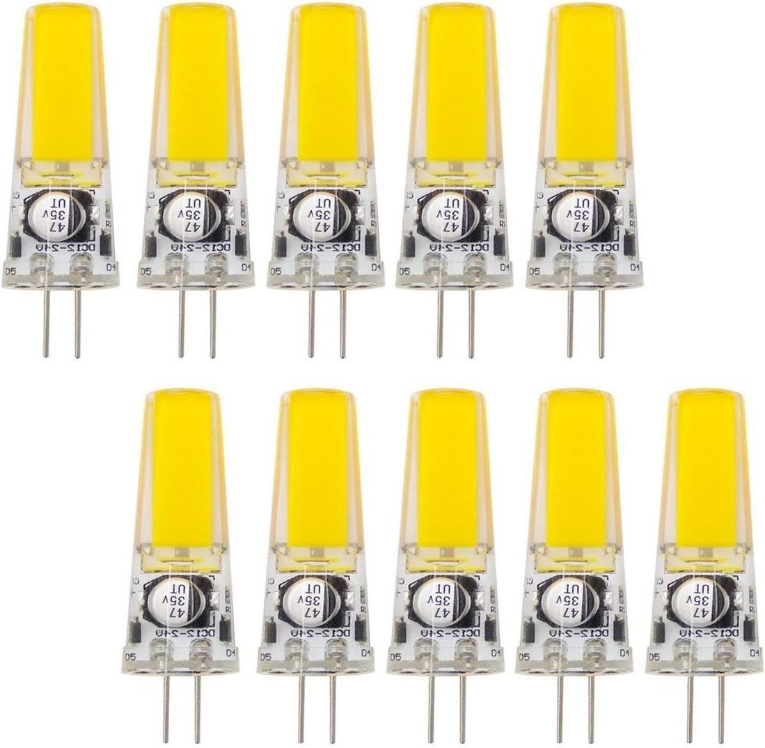 Inicio bombillas led Bombilla LED G4 Bin-pin Bombilla de luz COB 3W Bombilla G4 en lugar de bombilla halógena 25W 340 lúmenes CC/CA 12-24 V (paquete de 10) Bombillas (Color : Blanco)