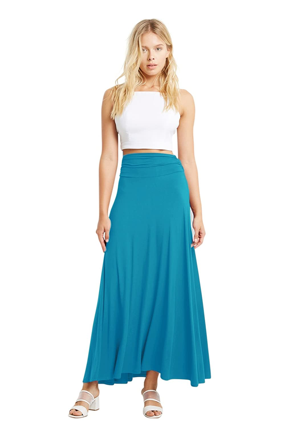 Poshsquare Womens Fashion Solid and Stripe Color Comfy Chic Maxi Waist Skirt USA
