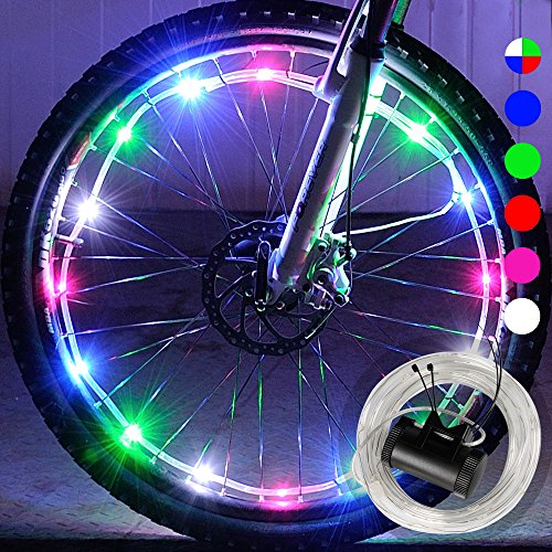 DAWAY Waterproof LED Bike Wheel Light A01+ Bicycle Spoke Light, Cool Light Bike Safety Tire Accessories, Light Up Spokes, Bright, 2 Mode, Battery Included, Easy Install, Gift for Kid Adult, Colorful