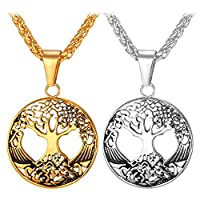 U7 18K Gold Plated or Stainless Steel Tree Of Life Pendant Wheat Chain Pendant Necklace