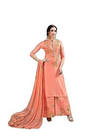 78743bce19 Designer Pakistani Style Semi-Stitched Jam-Silk with Hand Work Plazzo Suit  for Women/ Pakistani Suit Designer / Bottom Cambric Lawn Cotton ...