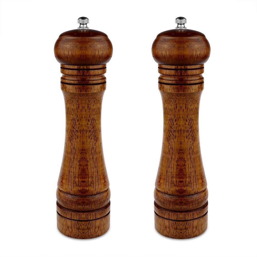 Wooden Pepper Mill Salt Grinder Mill Spice Grinder Salt Grinder Pepper Grinder Mill with Adjustable ceramic grinding Core for Pepper, Salt, Spices-2 packed (8-inch)