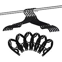 12 PCS Travel Hangers - Portable Folding Clothes Hangers Travel Accessories Foldable Clothes Drying Rack for Travel (Black)