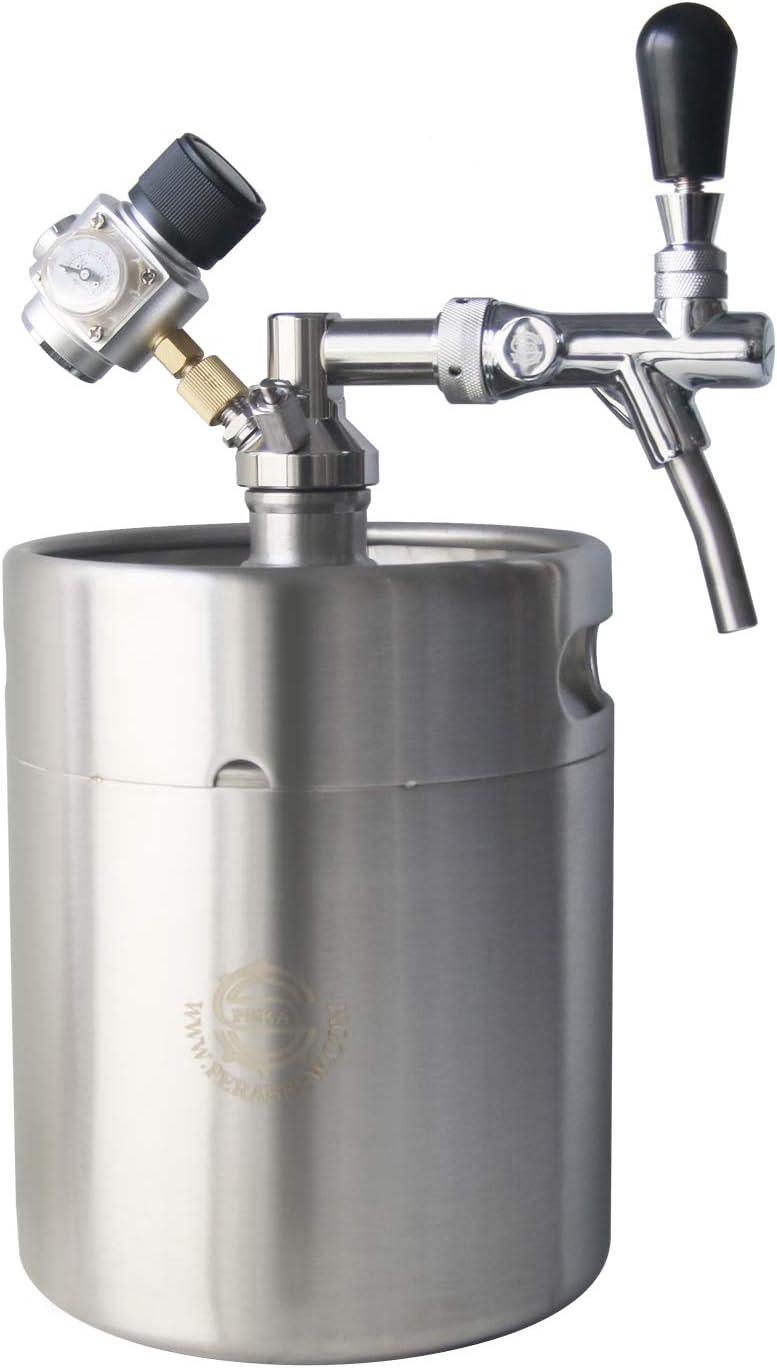Homebrew Mini Keg Beer Growler - PERA Brand Include 5L Beer Mini Keg, Beer Faucet, Keg Spear, Gas Regulator, Beer Line for Fermenting, Soda, Homebrew Beer