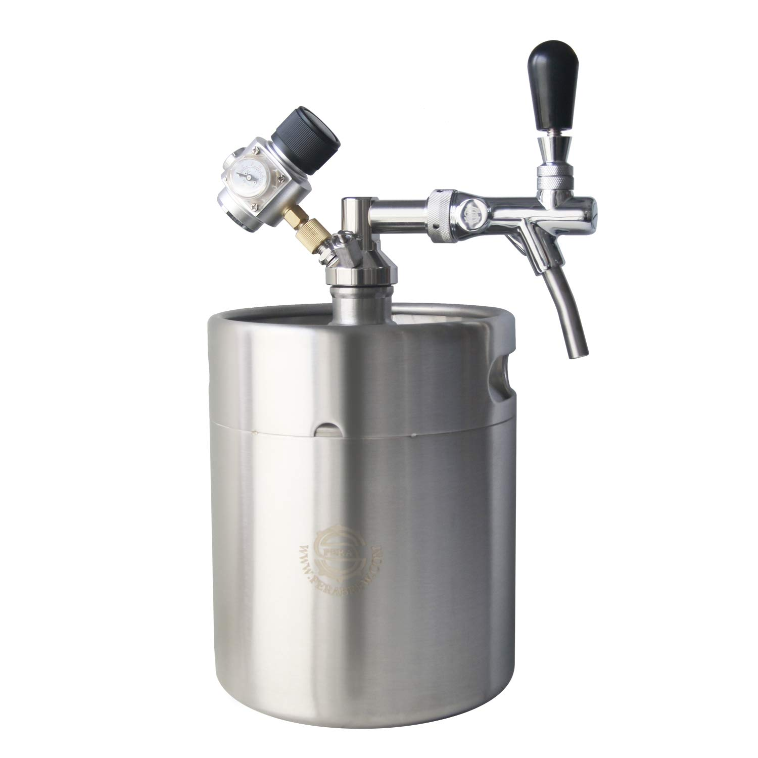 Beer Growler Mini Keg Tap - PERA Brand Including Beer Adjustable Faucet, 5L Mini Keg, CO2 Keg Charger, Keg Dispenser, Faucet Wrench for Home Brew Beer Kegging