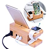 Wooden Charging Station, 3-Port Bamboo Docking Rack and Cord Organizer Holder for Smartphones and Tablets
