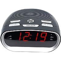 PYE AM/FM Alarm Digital Clock Radio w/LED Display/Snooze for Bedside Table Grey