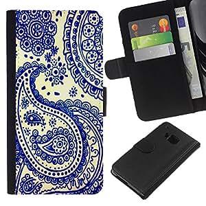 EJOY---La carpeta del tirón la caja de cuero de alta calidad de la PU Caso protector / HTC One M7 / --Azul de China Tarjetas India Poker