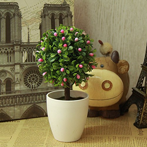 - LANJIE Simulation Of Plant Flowers Bonsai Tree Ornaments Potted Plants Fake Tree Grass Ball Plastic Flower Table Decoration Pink Of Pea Grass