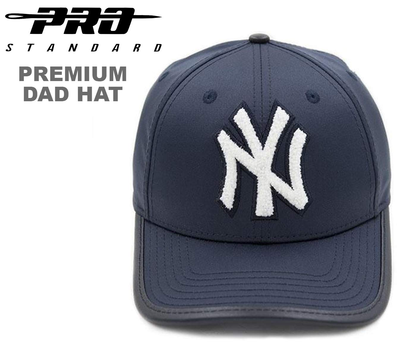 4e8e3a9ed9c Amazon.com   PRO-STANDARD NY Yankees Official MLB Premium Leather Chenille DAD  HAT   Sports   Outdoors