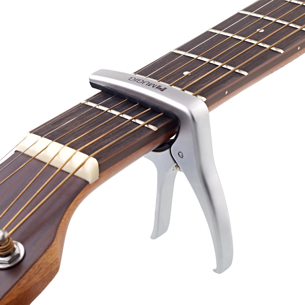 Mugig Guitar Capo, Guitar Accessories, Zinc Alloy Guitar Clamp Suitable for Flat Fretboard Electric and Acoustic Guitar - Single-handed Trigger Style